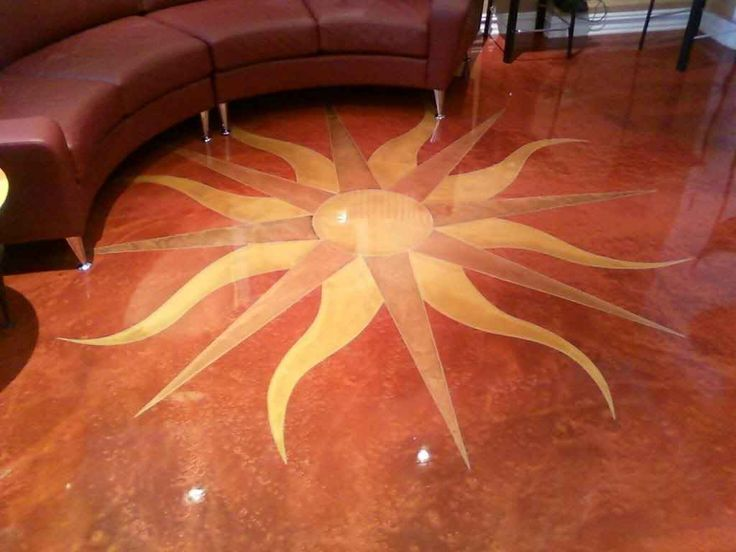 Custom Hand Drawn, Engraved And Colored Tuscan Sun With Designer Epoxy  Flooring System In Weehawken NJ Residence
