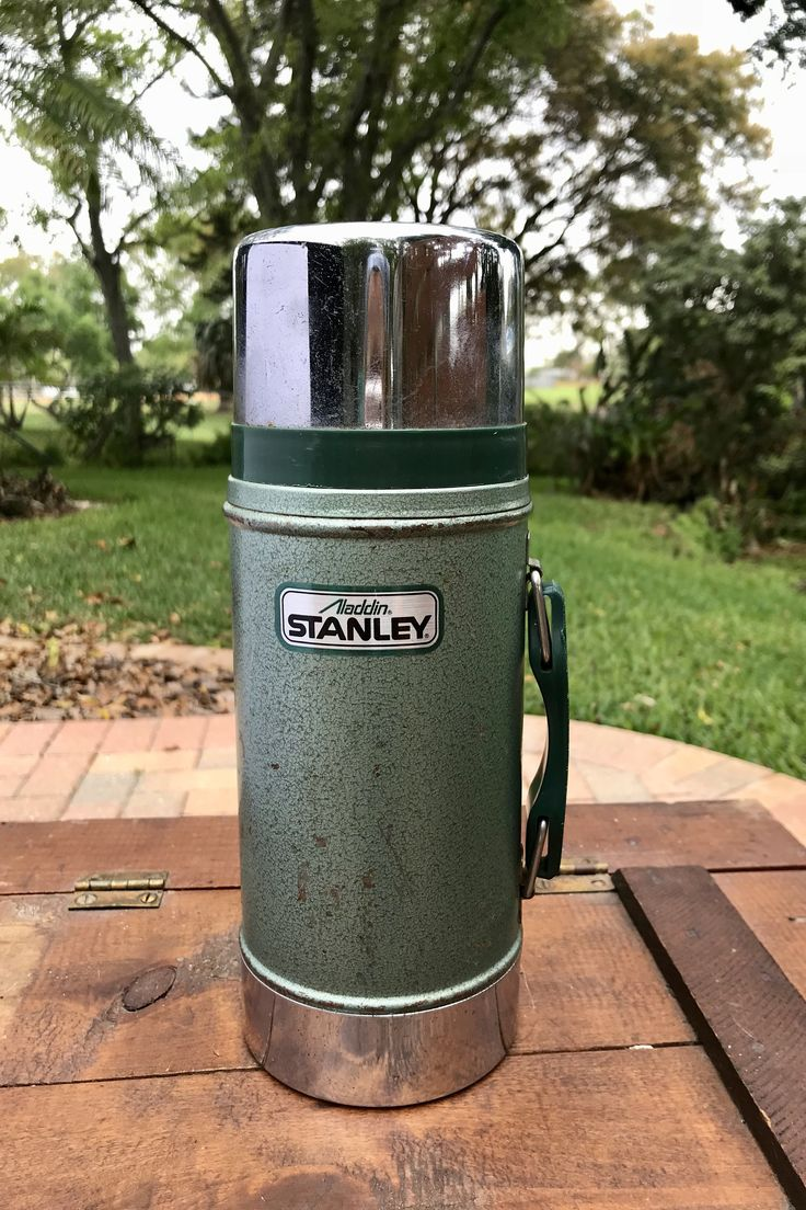 Vintage Aladdin Stanley 24oz. Wide Mouth Vacuum Bottle Thermos Hot Cold Beverage 80s Picnic Accessories Man Cave Decor Bar Ware    #housewares #green #industrialdecor #drinkware #vintagethermos #aladdinthermos #stanleythermos #thermos24oz #thermoswidemouth