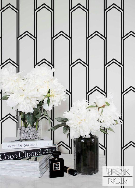 Minimalistic Art Deco Removable Wallpaper / Self Adhesive Removable Wallpaper / Geometric Wall Mural /