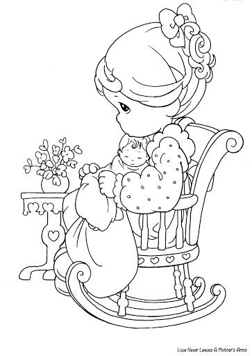 Mom and baby coloring page