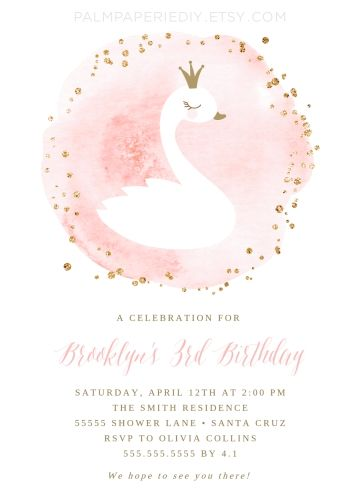 swan birthday invitation  girl  swan princess  instant