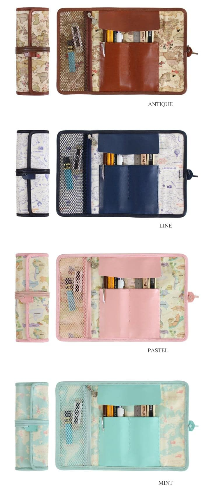 The *World Map Roll Pen Case* is a beautiful and useful pen case! Each pencil case includes 2 compartments and 1 mesh zipper pocket inside. It is also made with PU leather cover to prevent pens from falling out. Use this pencil case to organizer y...