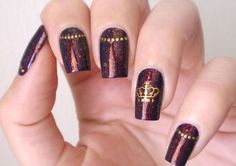 Shimmering vinous nail art with a crown :: one1lady.com :: #nail #nails #nailart #manicure