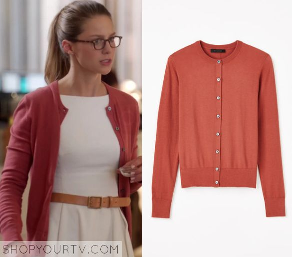 Cardigan by Ann Taylor, IDed by ShopYourTV. http://www.shopyourtv.com/2015/12/supergirl-season-1-episode-6-karas-pink-cardigan/ Pretty sure this is also the same cardigan worn with this outfit: https://www.pinterest.com/pin/121034308713763925/