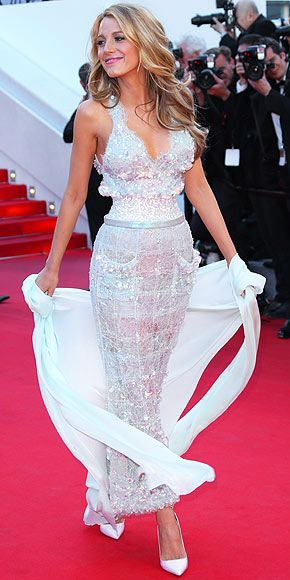 On the Red Carpet at Cannes | BLAKE LIVELY | In case her previous appearance at Cannes didn't leave you totally slack-jawed, Blake hits the carpet in a second stunner (this one, a lace iridescent Chanel Couture creation), flower-shaped Lorraine Schwartz earrings and Sophia Webster heels while having another great hair day at the Mr. Turner premiere.