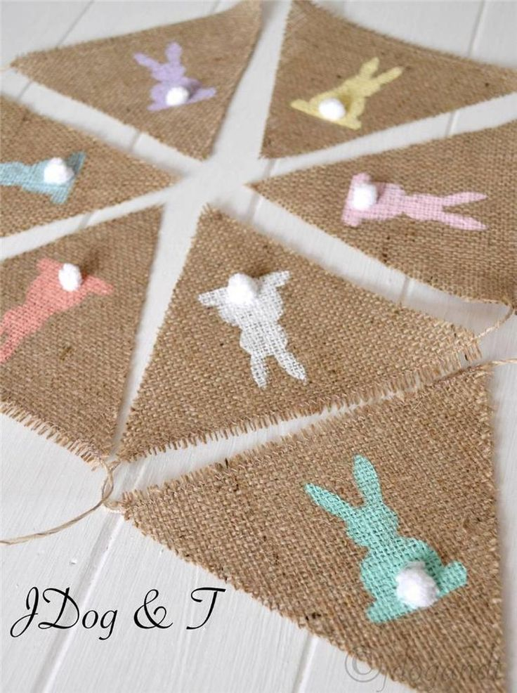 EASTER BUNNY RABBIT BUNTING HESSIAN BURLAP VINTAGE PARTY FLAGS PETER COTTON TAIL