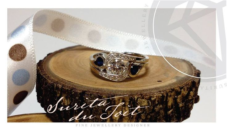 9K white gold set with diamonds and natural sapphires. Manufactured by Surita du Toit.