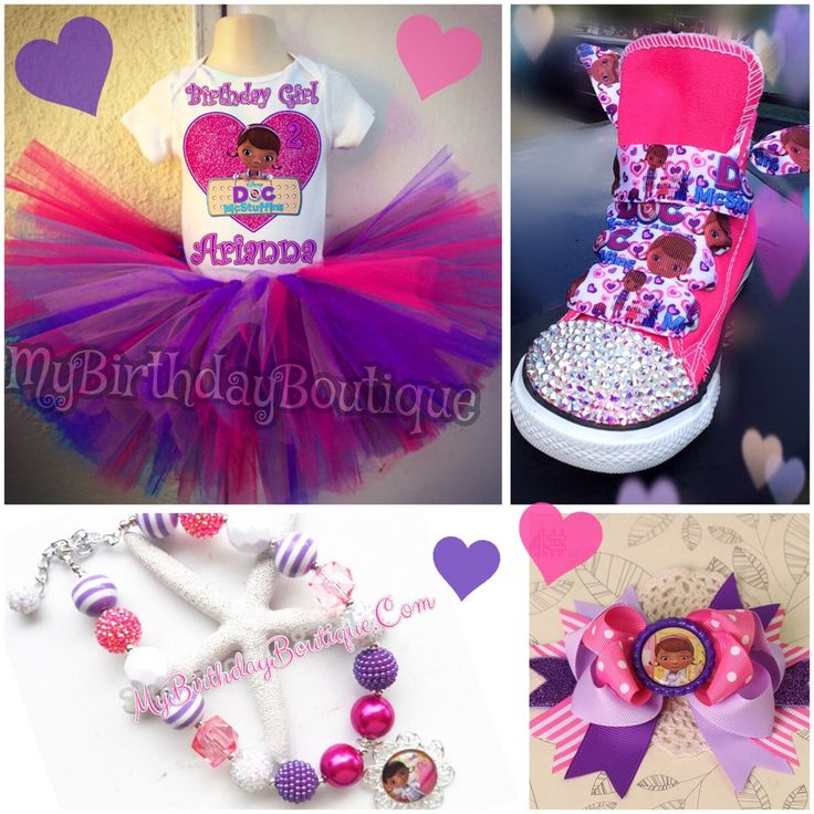 Doc Mcstuffins birthday outfit bundle - Doc Mcstuffins tutu set, pink Swarovski converse, birthday shoes, bubblegum necklace and hair bow set