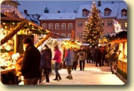 One of Bamberg's Christmas Markets - Bamberg is situated on seven hills and is a UNESCO World Heritage City. There's four diverse Christmas markets here, with Traditional at Maxplatz Square, Medieval at Geyerswörth Palace, Advent at the Sand and Arts & Crafts at Jakobsplatz Square.