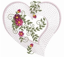 hearts rings Rippled Floral Heart 2  5   3 Sizes    Valentine  s Day   Machine Embroidery