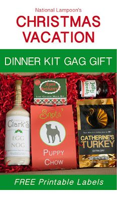 National Lampoon's Christmas Vacation Dinner Kit gag gift with free printable labels to give you a dinner inspired by the Griswald, Cousin Eddie and more. Perfect for white elephant gift exchanges or Christmas Vacation party.