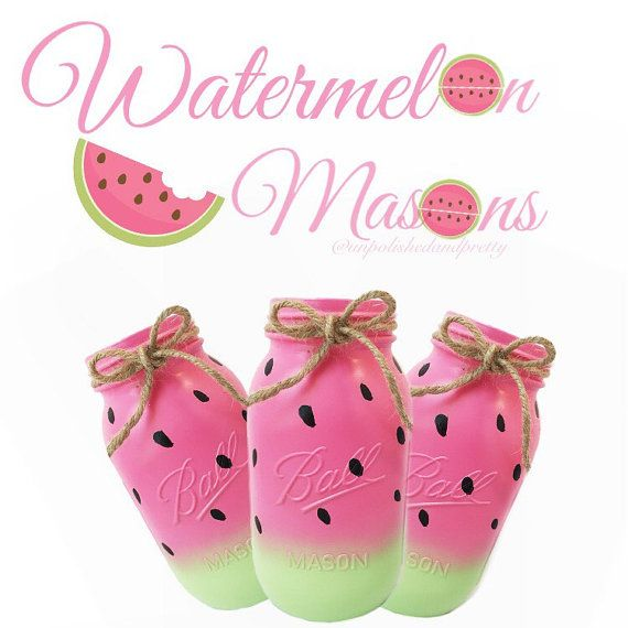 Watermelon mason jars painted mason jars by UnpolishedandPretty