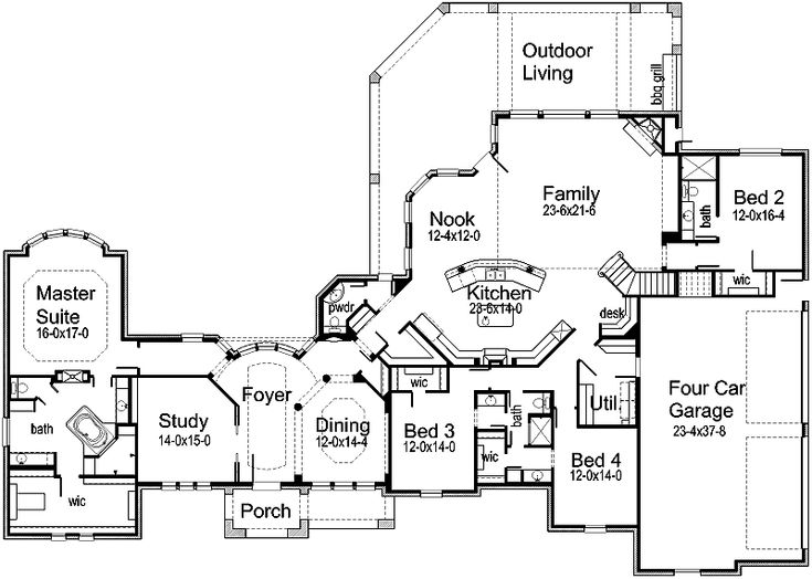 1000 images about blueprints on pinterest 3 car garage for House plans with separate kitchen