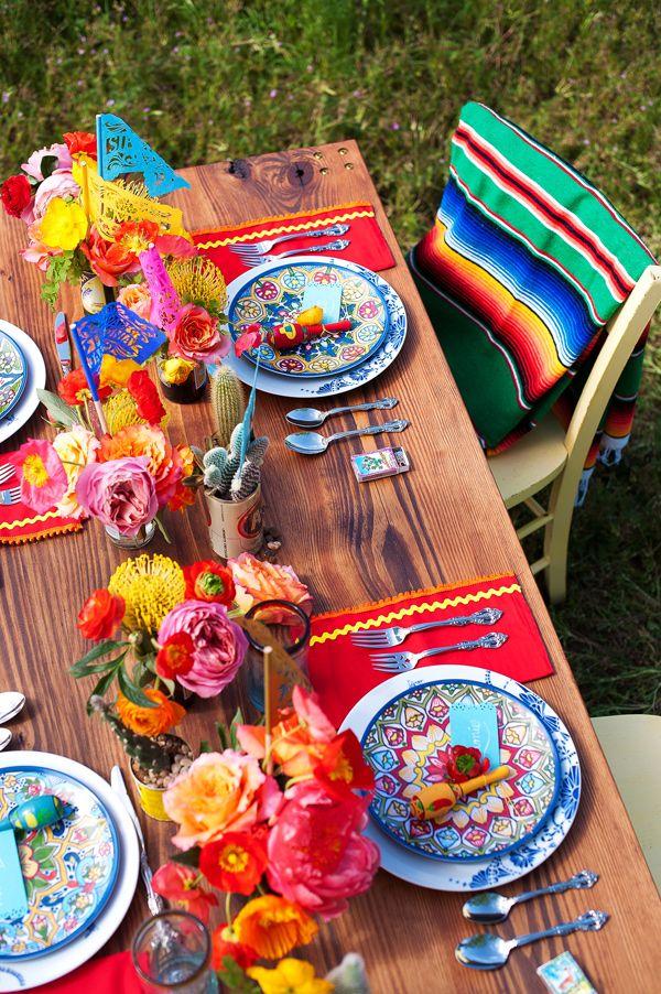 Cinco de Mayo tablescape - Nine Photography  - http://ruffledblog.com/technicolor-cinco-de-mayo-wedding/