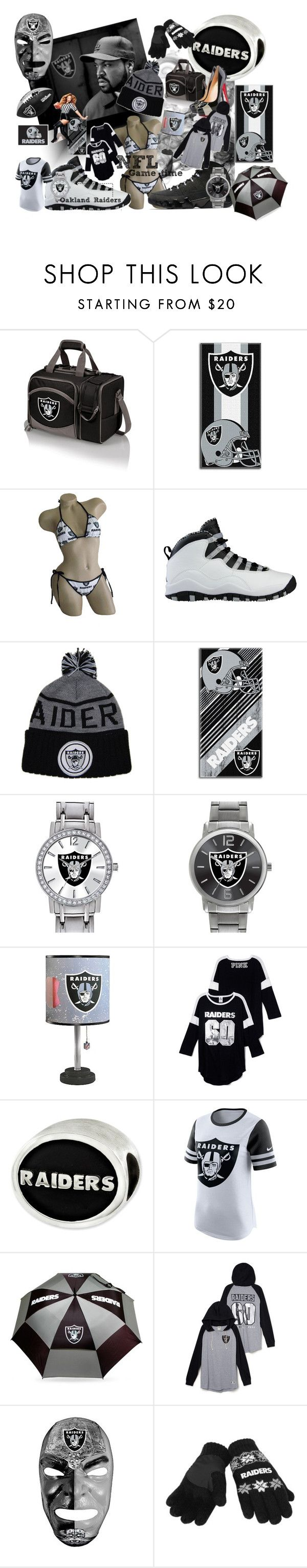"""Game time"" by jnellypisces22 on Polyvore featuring Picnic Time, NIKE, The Northwest Company, Game Time, Team Golf, Forever Collectibles, gametime, NFL, footballfashion and SilverNBlack"