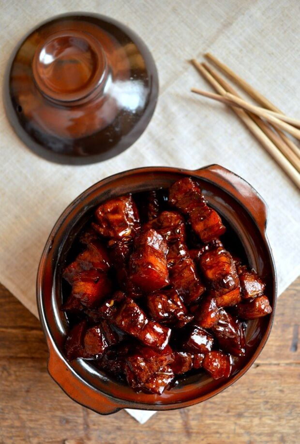 Shanghai-Style Braised Pork Belly (hong shao rou, 红烧肉) is a very famous dish in China. Everyone knows it, and there are many versions and twists based on the original. Some of the more well-known variations include the addition of