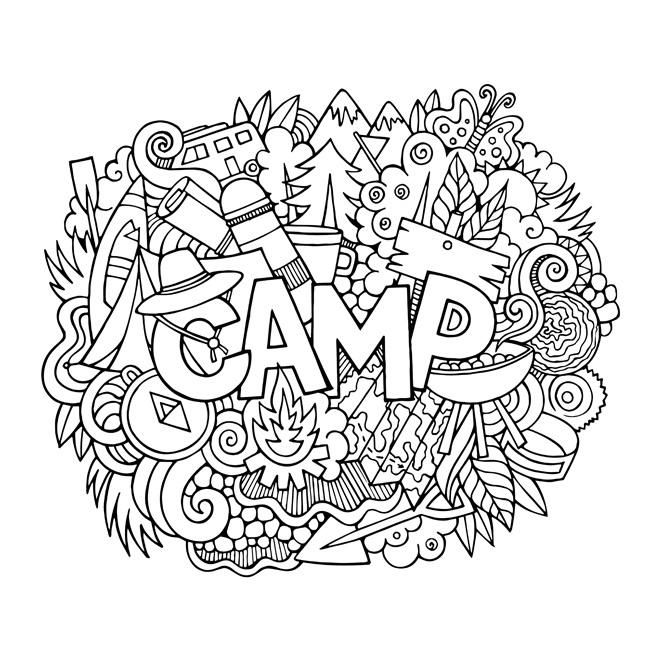 Camp Color Your Own Canvas Art By Olga Kostenko Doodle Lettering