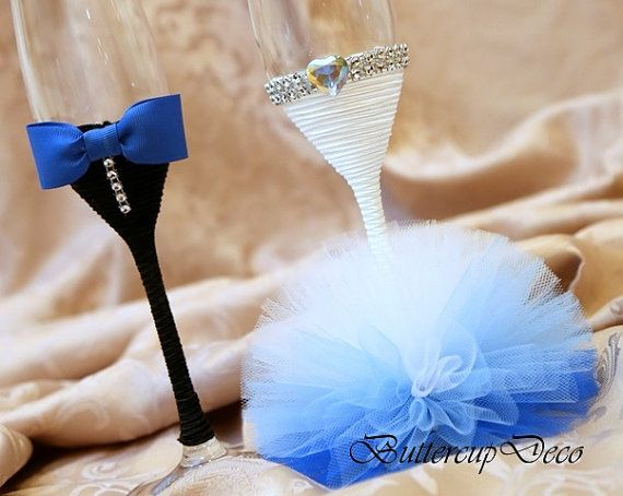 Copas de boda Conjunto de 2 mano decorados vasos por ButtercupDeco