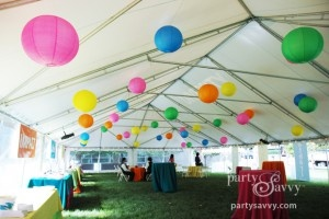 Corporate Decorating ideas for an event using colorful paper lanterns