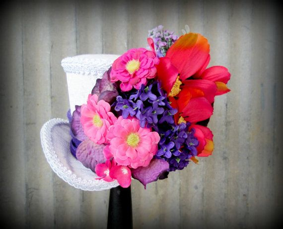 Summer Fever flower explosion mini top hat Alice in by ChikiBird, $38.00