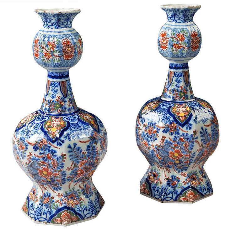 Pair of 19th Century Delft Knobble Vases | From a unique collection of antique and modern vases at http://www.1stdibs.com/furniture/dining-entertaining/vases/