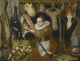 Dutch School, 17th Century, A STILL LIFE OF A LARDER, WITH A MAID