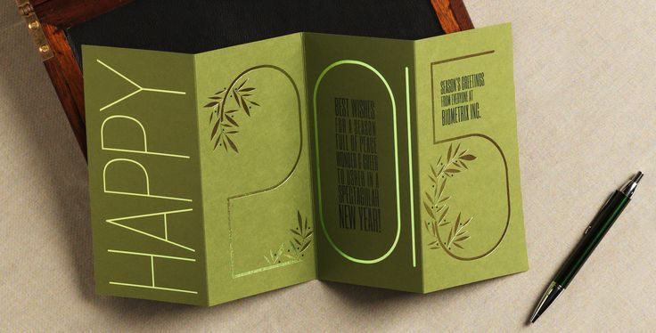Happy! Who wouldn't be HAPPY… after they received this fun and festive foldover. Bright green foil adorns the cover which then accordion folds out to continue the happiness throughout the entire 2015 year. Floral tendrils add an extra freshness to the card which has your message popping in hunter ink. Slip the card into our white pointed-flap envelope and upgrade it if you wish with a Jungle green liner.
