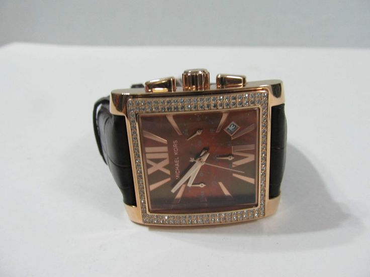 b805ddc752 ... Michael kors chronograph crystal brown leather band womens watch mk5675  ...