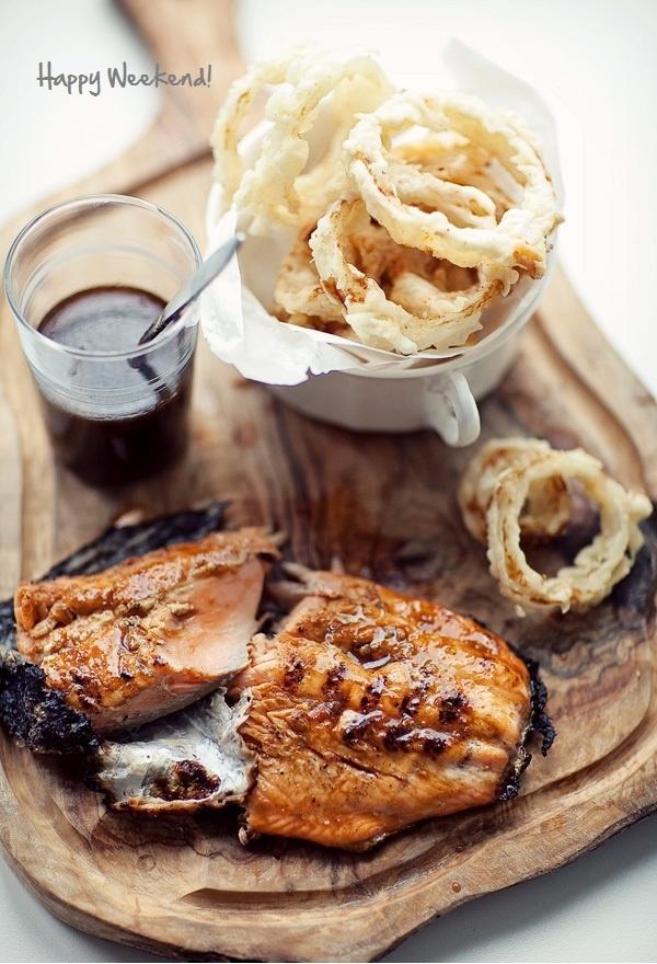 salmon & onion rings- delish!