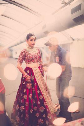 Bridal Lehenga - Amitesh & Atiya | WedMeGood | Marsala Velvet Sabyasachi Lehenga with Fully Embroidered Blouse and Beige Net Dupatta #wedmegood #indianbride #indianwedding #marsala #sabyasachi #bridal #lehenga