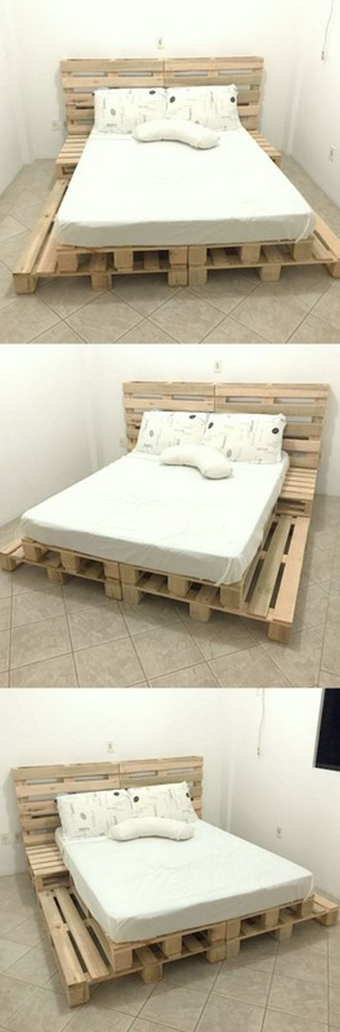Very Beautiful Wooden Pallet Bed bedding Nápady