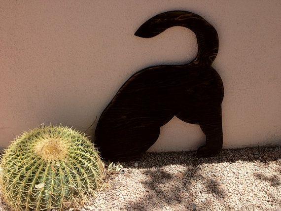 Holz Hund Rasen Ornament, Kunst an der Baustelle, Hund Hintern, schwarze Lab, Knochen, Holz Schild Hund gesucht
