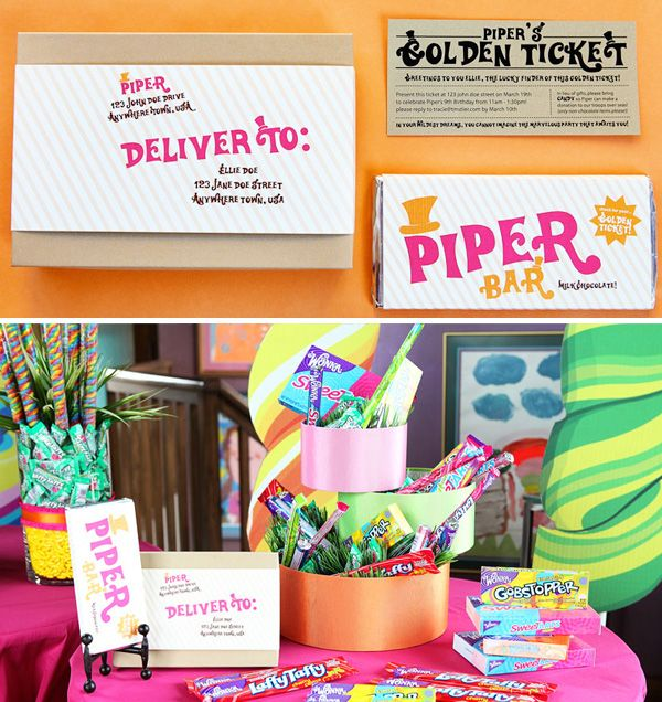 Willy wonka party with golden ticket invitations