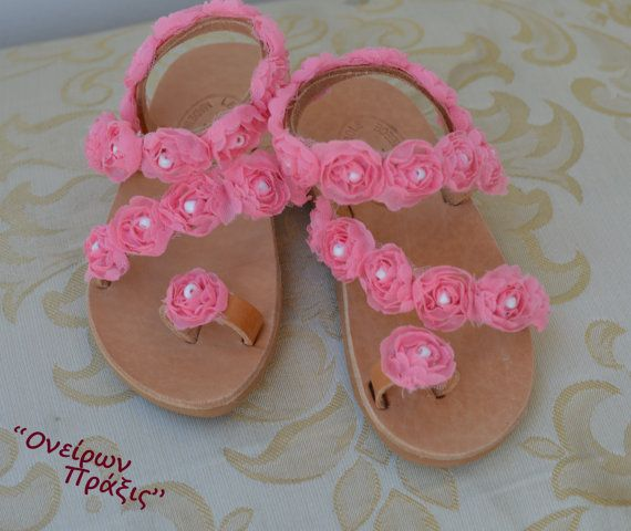 Unique design girls leather sandals are made from high quality Greek leather. Decorated with flowers and leather straps. The natural color of leather that its getting darker as time goes by and getting the shape of your foot. Girls can wear them all day with shorts or with dresses. I hope you will like them!! Custom made order can be made on the color of the flowers, after you contact me. We offer the following standard sizes Size 21: 13.5cm - 5.3inches Size 22: 14cm - 5.5inches Size 23…