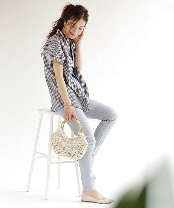ゆるめの雰囲気がこなれた印象を演出♡40代アラフォー女性のスキッパーシャツのコーデ♪