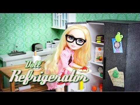 How to Make a Doll Refrigerator - Doll Crafts - YouTube