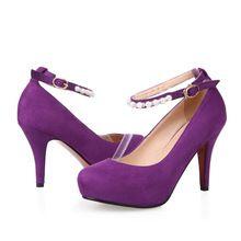 Livraison gratuite femmes sexy mode pompes talons hauts plate - forme de chaussures à talons noir violet chaussures de soirée de mariage hot vente(China (Mainland))