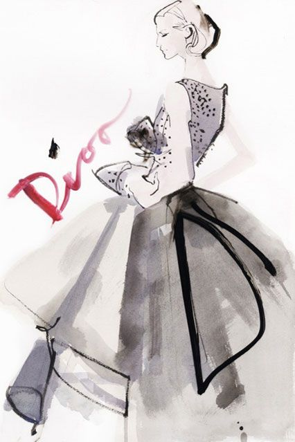 David Downton illustration of Dior Spring/Summer 2012 Couture.