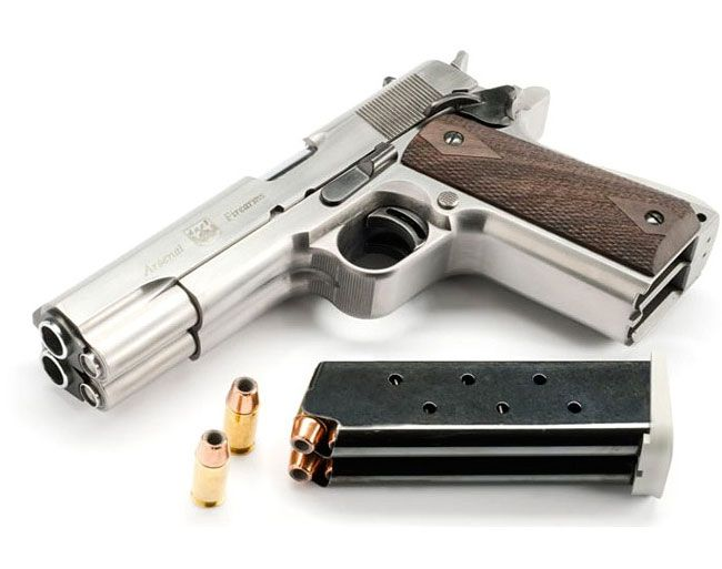 """Arsenal Firearms AF2011-A1 double barrel .45 automatic. Totally impractical, but super cool in an """"El Mariachi"""" kind of way."""