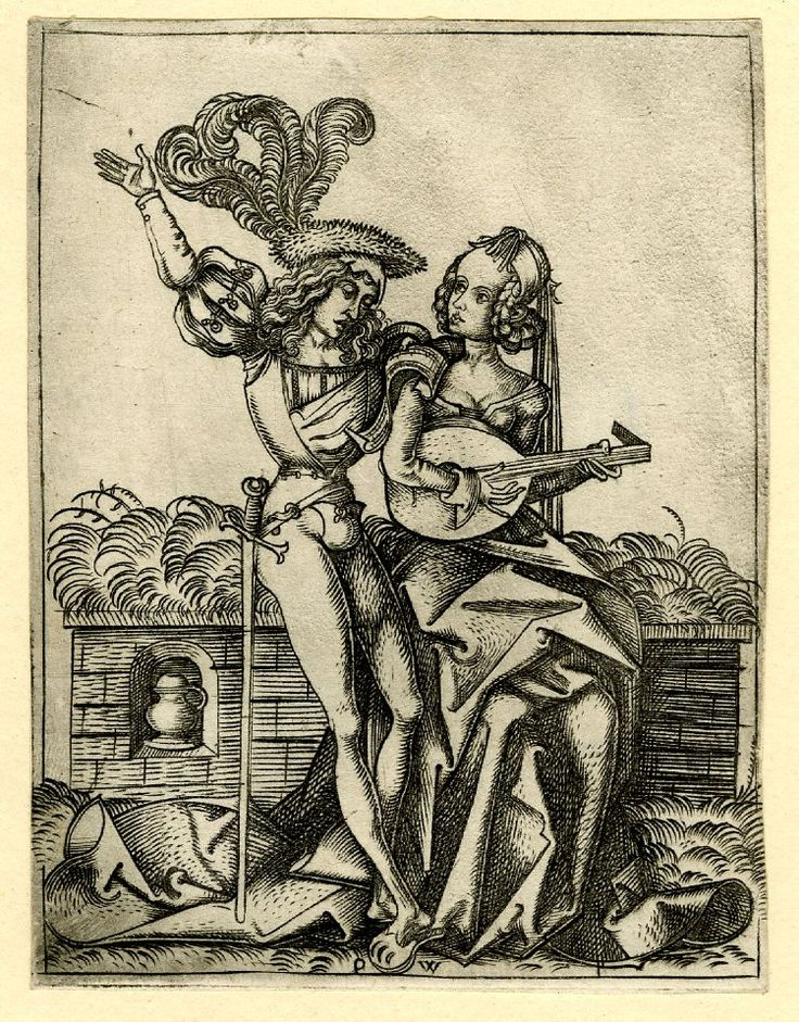 German 1500: The duet; on a grassy bench sits a young woman, playing the lute; next to her stands a young man, raising one arm. c.1500 Engraving