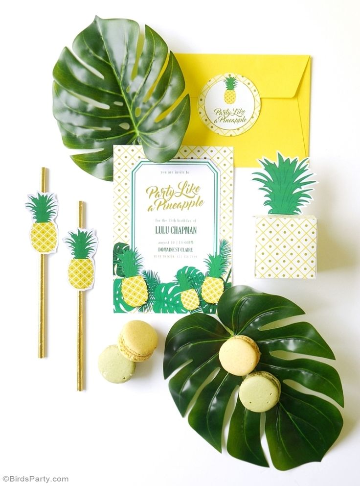 Party Like a Pineapple Birthday Party Printable Invitations - BirdsParty.com