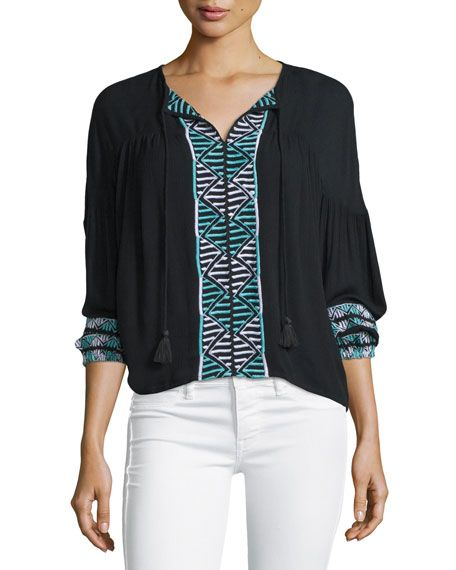 PIPER BOGO LONG-SLEEVE EMBROIDERED TOP, BLACK. #piper #cloth #
