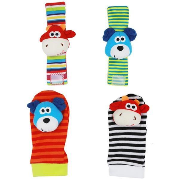 Infant Baby Kids Socks Rattle Toys Wrist Rattle And Foot Socks Baby Toys Rattles Baby Shower Gifts Baby Rattle