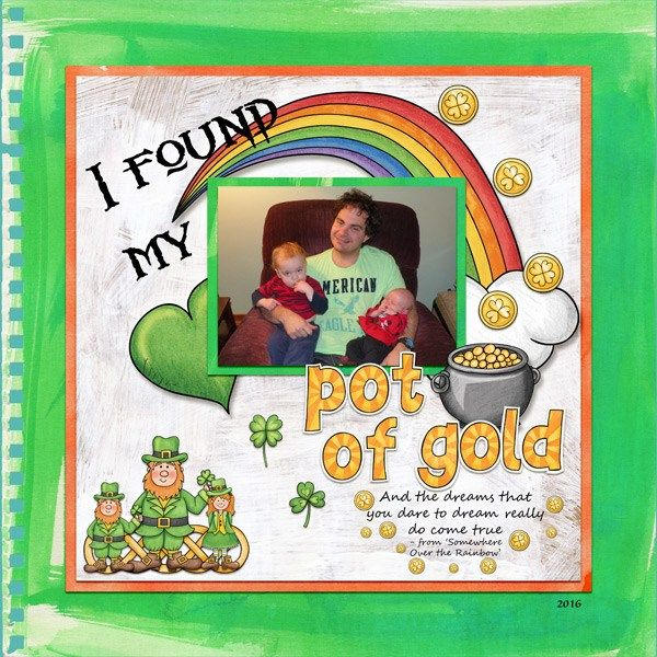 St Patricks digital scrapbooking page | St Patrick's Day scrapbook layout ideas | Kate Hadfield Designs Creative Team scrapbook page by Amy