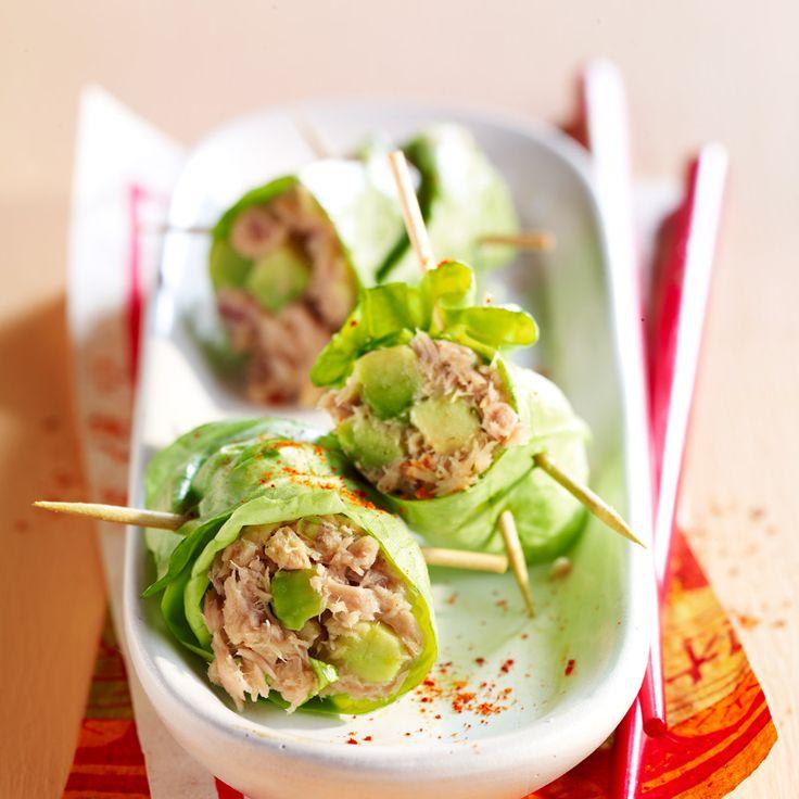 Découvrez la recette Rouleaux de laitue thon-avocat sur cuisineactuelle.fr.