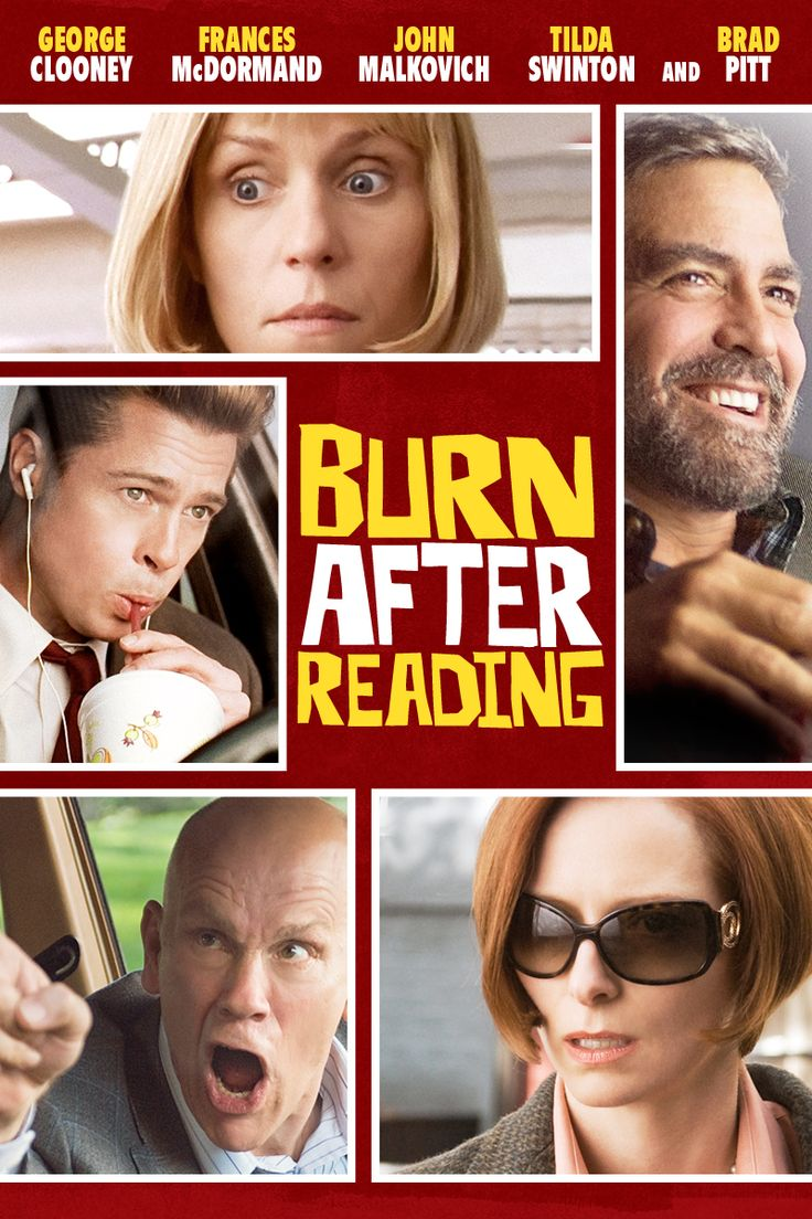 Burn After Reading (2008) | directed by Ethan Coen, Joel Coen | starring George Clooney, Frances McDormand, John Malkovich, Tilda Swinton, and Brad Pitt / Great Movie w some twists