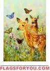 Fawns & Butterflies Garden Flag