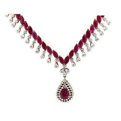 37.93cts Natural Ruby and Diamond Necklace