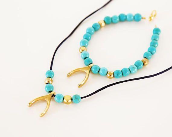 turquoise gemstone jewelry necklace and bracelet set semi