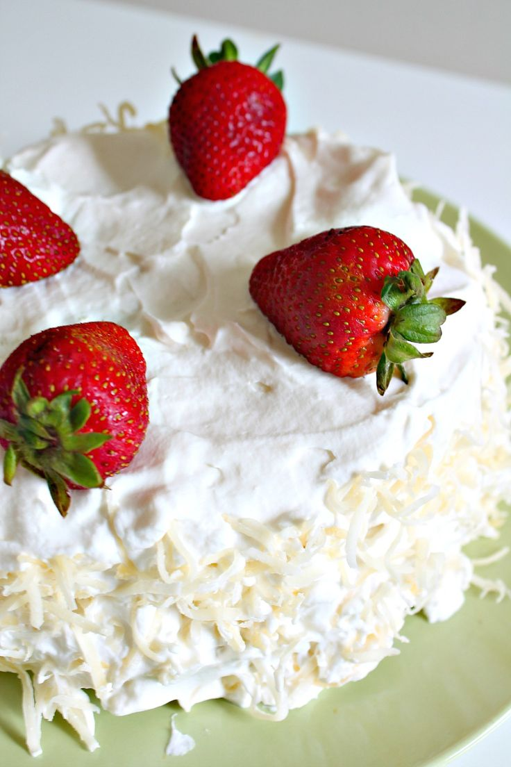 Steamed Strawberry Coconut Poke Cake